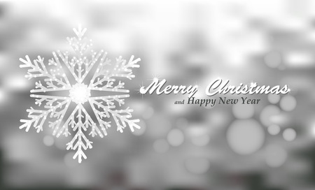 Merry Christmas silver background with snowflake. Holiday Bokeh background decorated with shining snowflake. Vector.