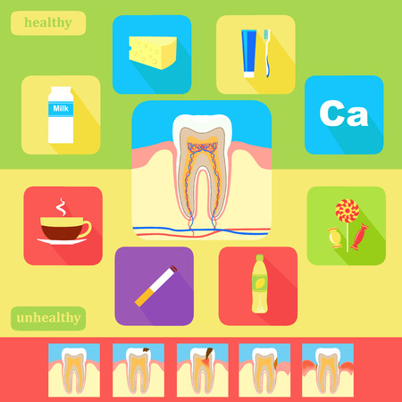 Dental health icons. Set of tooth care icons. Flat design. Vector Vector