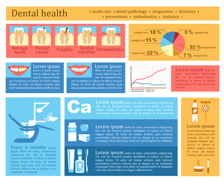 Dental health infographics. Infographics of tooth care. Vector Vector