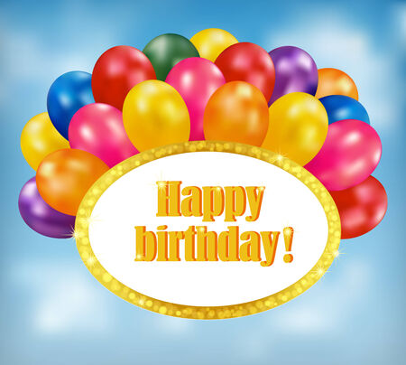 Happy birthday background. Holiday background with multicolor balloons and gold sparkling frame. Vector Vector