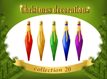 Christmas ornaments. Collection of decorative icicles. Set of Christmas red, gold, green, blue and violet decorative icicles.  Vector. Vector