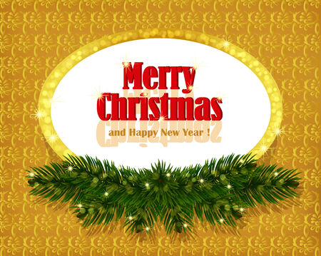 Christmas gold background with sparkling frame. Holiday retro style background decorated with spruce branches and gold glittering frame. Vector. Vector