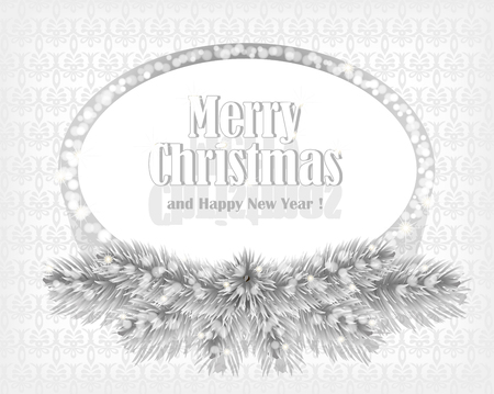 Christmas white background with sparkling frame. Holiday retro style background decorated with spruce branches and silver glittering frame. Vector. Vector