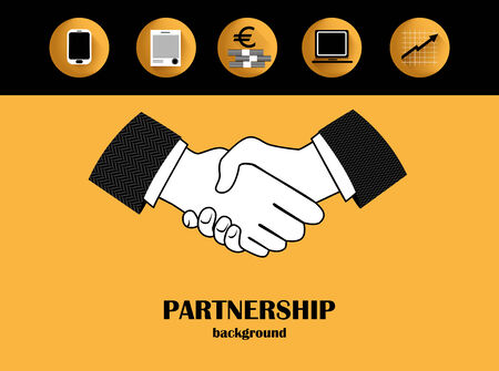 Monochrome graphic background with handshaking and flat icons.  Vector