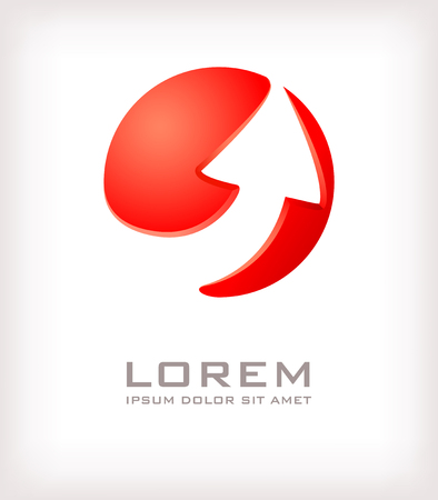 Arrow red logo design template. Corporate icon such as logotype. Abstract elements of sphere forming arrow. Vector. Vector