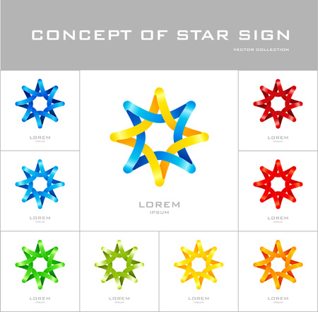 octagonal: Star logo design template. Corporate icon such as logotype. Infinite loop quadrangles forming octagonal stella. Vector.