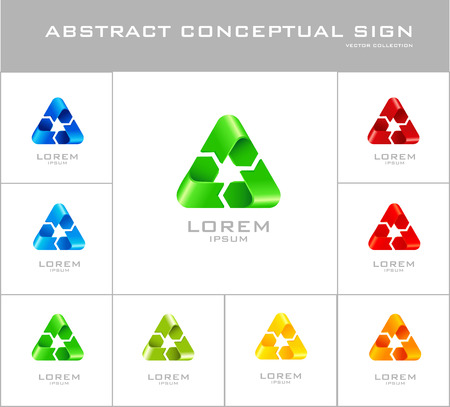 Recycling sign logo design template. Set of corporate icon such as logotype. Infinite loop ribbon forming abstract three-poi Vector. Vector