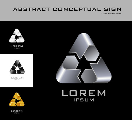 Recycling sign logo design template black white gold silver. Set of corporate icon such as logotype. Infinite loop ribbon forming abstract three-poi Vector. Vettoriali