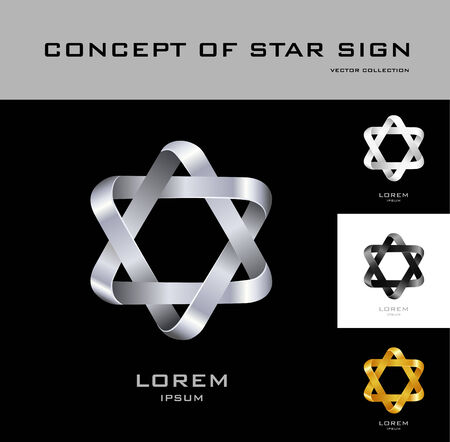 Six-point star design template Vector