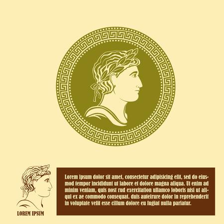imperator: Ancient profile of man design template.