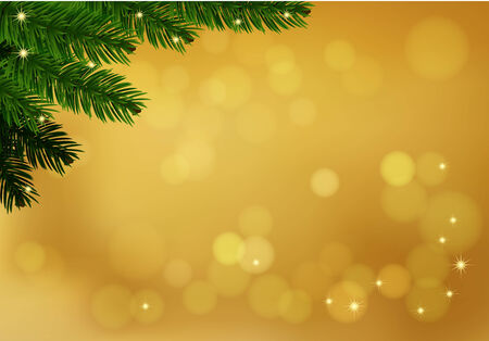 Gold background with fir branch. Holiday blurred background decorated with spruce branch. Vector. Vector
