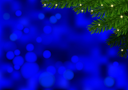 Blue background with fir branch. Holiday Bokeh background decorated with spruce branch. Vector. Vector
