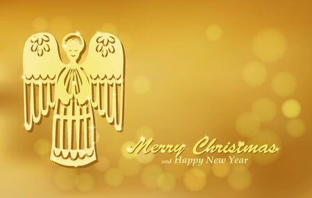 Christmas gold background with angel. Holiday blurred background decorated with shining golden paper figure of angel. Vector. Vector