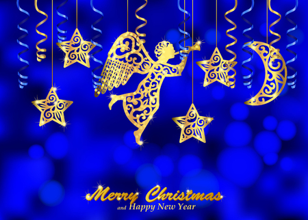 Holiday blue background with golden figures of angel, stars and moon. Christmas background decorated with paper streamers and fillet silhouettes of blowing angel, stars, moon. Vector. Vector