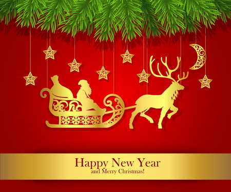 santa claus background: New Year greeting card with gold silhouette of Santa Claus. Illustration