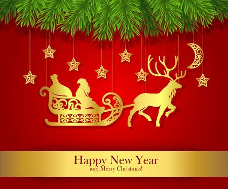 santa claus: Nueva tarjeta de felicitaci�n del A�o Nuevo con la silueta del oro de Santa Claus.