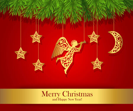Red Christmas greeting card decorated with gold angel.
