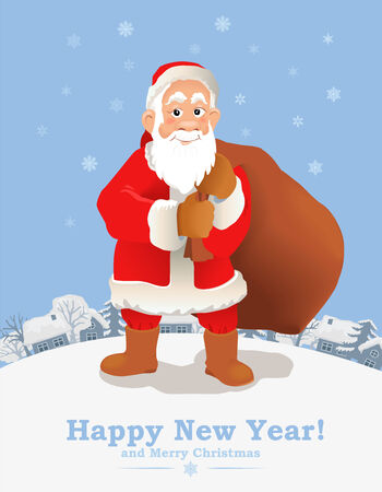 house of santa clause: Cartoon Santa Claus New Year greeting card. Funny Santa Claus with sack of presents against cottage view. Vector