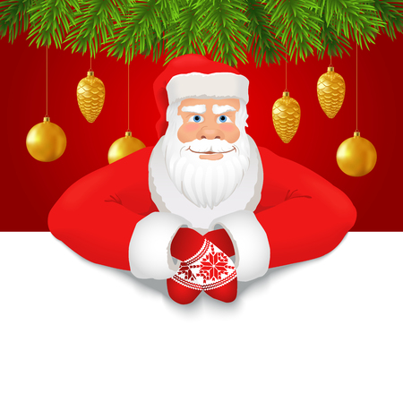Santa Claus copy space red background. Smiling Santa Claus on the red background decorated with fir branches and Xmas ornaments, white copy space for any text. Vector Vector