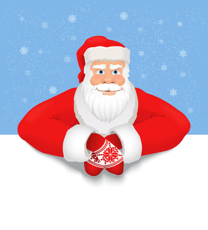 Santa Claus copy space. Smiling Santa Claus on the snowy background, white copy space for any text. Vector Vector