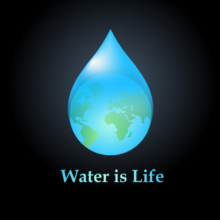 water pollution: Water drop icon design template.