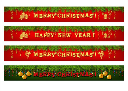 Christmas web banner set. Collection of horizontal full banners decorated with fir branches, gold lettering, paper streamer and Xmas ornaments. Vector Vector