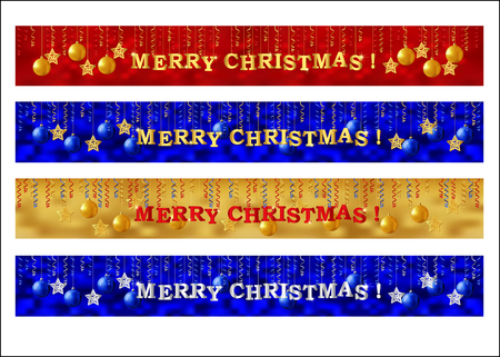 web banner: Merry Christmas web banner set. Collection of horizontal full banners decorated with gold lettering, paper streamer and Xmas ornaments. Vector