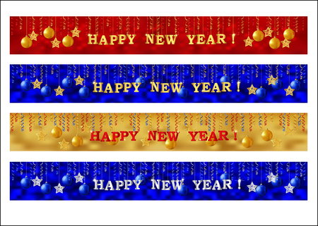 New Year web banner set. Collection of horizontal full banners decorated with gold lettering, paper streamer and Xmas ornaments. Vector Vector