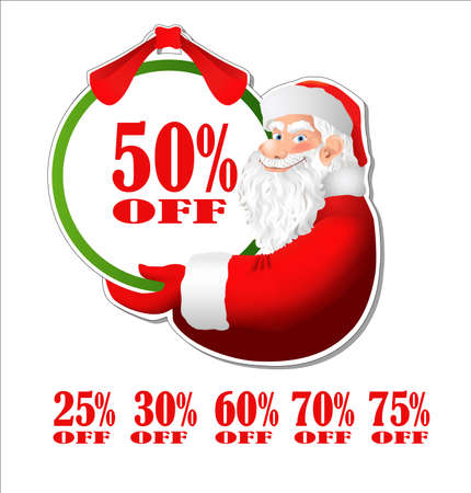 santa clause: Discount sticker with Santa Claus. Discount label decorated with cartoon Santa Clause. Vector Illustration