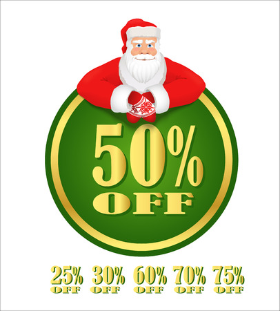 clause: Santa Claus green discount label. Discount sticker decorated with cartoon Santa Clause. Vector