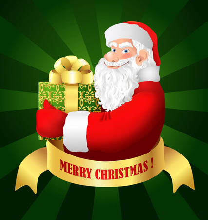 santa claus cartoon: Santa Claus with gift box. Cartoon smiling Santa Clause hold Xmas present. Christmas greeting card. Vector