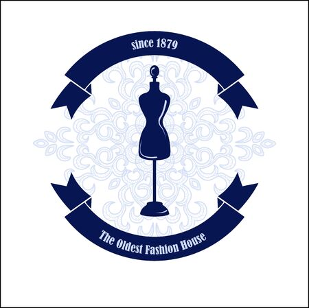 costumer: Fashion House symbol. Silhouette of mannequin on the lace background such as template. Vector