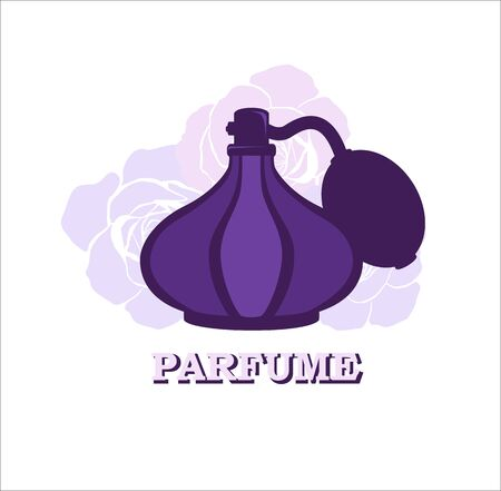 perfumery: Perfume symbol. Retro bottle of perfume on the rose background such as template. Vector