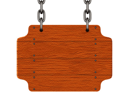 Wooden sign. Wooden signboard hang by chains. Vector