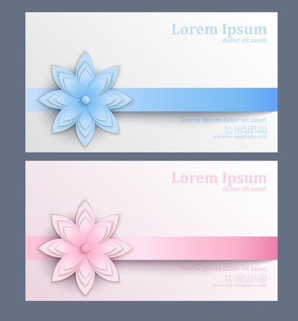 Business card with paper flower template of visit card decorated business card with paper flower template of visit card decorated with ribbon and paper flower mightylinksfo