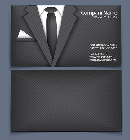 Business card with suit. Template of visit card stylized business suit. Vector