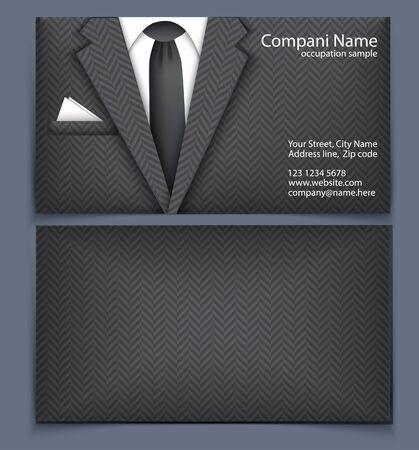 traje formal: Tarjeta de visita con el ejemplo. Plantilla de la tarjeta de visita estilizado traje de negocios. Vector Vectores