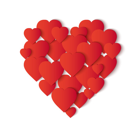 small paper: Paper heart. Big heart shape consisting of red small paper hearts. Vector Illustration
