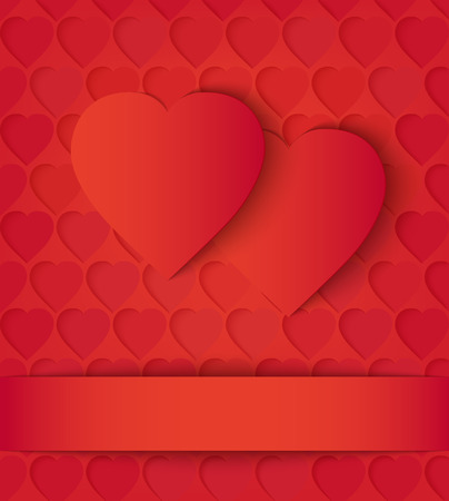 perforation: Two paper hearts card on red. Two red paper hearts and ribbon on the perforation background. Vector