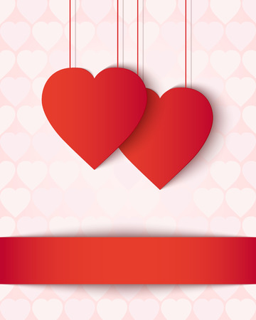 pale colour: Two paper hearts card. Pale pink greeting card decorated with two red paper hearts and ribbon. Vector