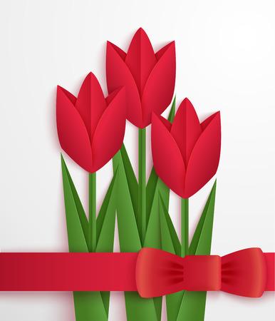 tulip: Czerwone tulipany tekturą. Karta z pozdrowieniami ozdobione czerwone tulipany origami i wstążką. Wektor