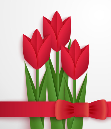 red tulip: Red paper tulips card. Greeting card decorated with red origami tulips and ribbon. Vector