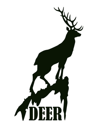 animal silhouette: Deer on the rock logo design template. Silhouette of deer standing on the cliff in profile such as logotype. Vector illustration Illustration