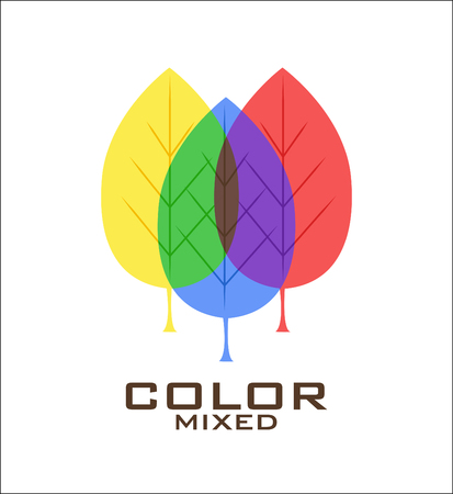 primary colors: Primary color leaves logo design template. Three leaves of primary colors blue, red, yellow and mixing of them. Vector illustration