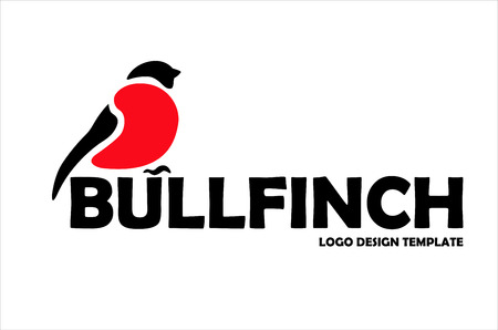 Bullfinch logo design template. Stylizing bullfinch bird icon such us logotype. Vector illustration