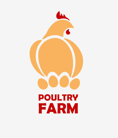 Chicken logo design template. Stylizing hen eggs hatch icon such us logotype. Vector illustration
