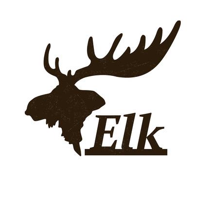 エルクのロゴのデザイン テンプレートです。ロゴタイプなどプロフィール アイコンでエルク頭のシルエット。ベクトル図