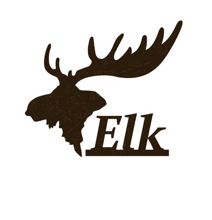 antlers silhouette: Elk logo design template. Silhouette of elk head in profile icon such as logotype. Vector illustration