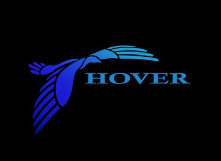 Flying bird logo design template. Stylized soaring bird icon such as logotype. Vector illustration Illustration