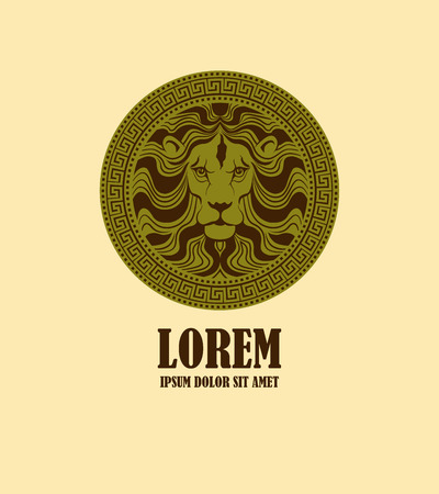 Lion head medallion logo design template. Stylized lion head in ancient locket icon such as logotype. Vector illustration Vettoriali